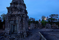 Siam Reap, Cambodia, Moonrise at temple