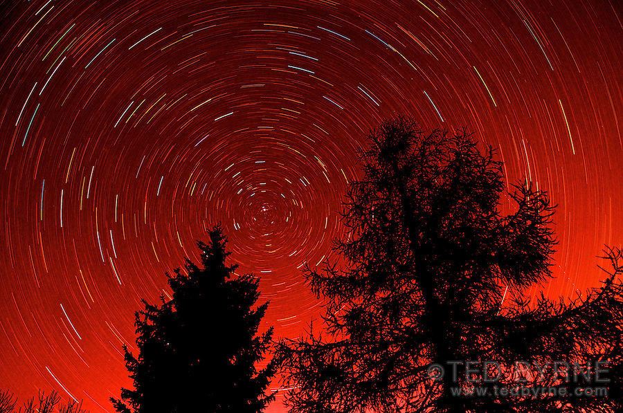 False color star trails around the Polaris star (45 minute exposure)