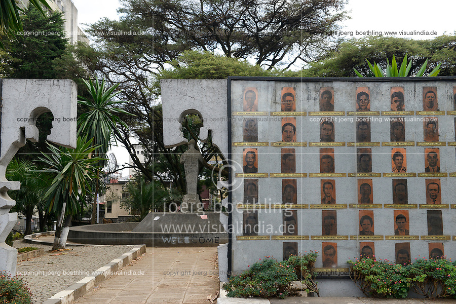 ETHIOPIA , Addis Ababa, The Tiglachin Monument, also known as Derg Monument at Churchill Avenue, Derg was the communist regime under dictator Mengistu Haile Mariam, is a memorial to Ethiopian and Cuban soldiers involved in the Ogaden War between Somalia and Ethiopia, inaugurated on 12 September 1984, the statuary was donated by North Korea, and was manufactured by the Mansudae Art Studio, images of killed cuban soldiers / AETHIOPIEN, Addis Abeba, Monument aus der kommunistischen Derg Zeit