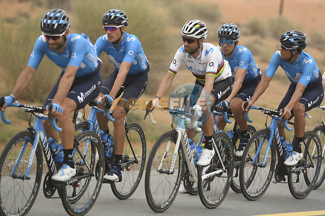 The peloton including World Champion Alejandro Valverde (ESP) and Movistar Team during Stage 6 of the 2019 UAE Tour, running 175km form Ajman to Jebel Jais, Dubai, United Arab Emirates. 1st March 2019.<br /> Picture: LaPresse/Fabio Ferrari | Cyclefile<br /> <br /> <br /> All photos usage must carry mandatory copyright credit (© Cyclefile | LaPresse/Fabio Ferrari)