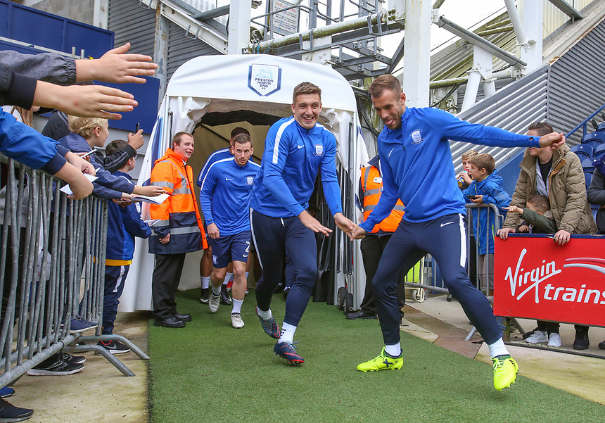 Preston North End's Jordan Hugill and Tommy Spurr run out for the warm up<br /> <br /> Photographer Alex Dodd/CameraSport<br /> <br /> The EFL Sky Bet Championship - Preston North End v Sunderland - Saturday 30th September 2017 - Deepdale Stadium - Preston<br /> <br /> World Copyright &copy; 2017 CameraSport. All rights reserved. 43 Linden Ave. Countesthorpe. Leicester. England. LE8 5PG - Tel: +44 (0) 116 277 4147 - admin@camerasport.com - www.camerasport.com