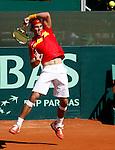 Tenis, DAVIS CUP, World group, first round.SPAIN Vs. SERBIA.Rafael Nadal Vs. Novak Djokovic.Rafael Nadal, returnes.Benidorm, 03.08.2009..Photo: © Srdjan Stevanovic/Starsportphoto.com