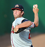 Starting RHP Aaron Northcraft (20) of the Danville Braves in a game against the Elizabethton Twins on July 16, 2010, at Joe O'Brien Field in Elizabethton, Tenn. Photo by: Tom Priddy/Four Seam Images