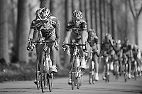 Nokere Koerse 2012.Chinese team Champion System pulling the peloton