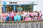 Brest Cancer: Over 60 people took part in a 7K walk in aid of Action Brest Cancer in Cahersiveen on Sunday morning.  The event was organised by Elaine Keating, pictured here outside Time Square Cafe? after having some refreshments are some of those who took part.