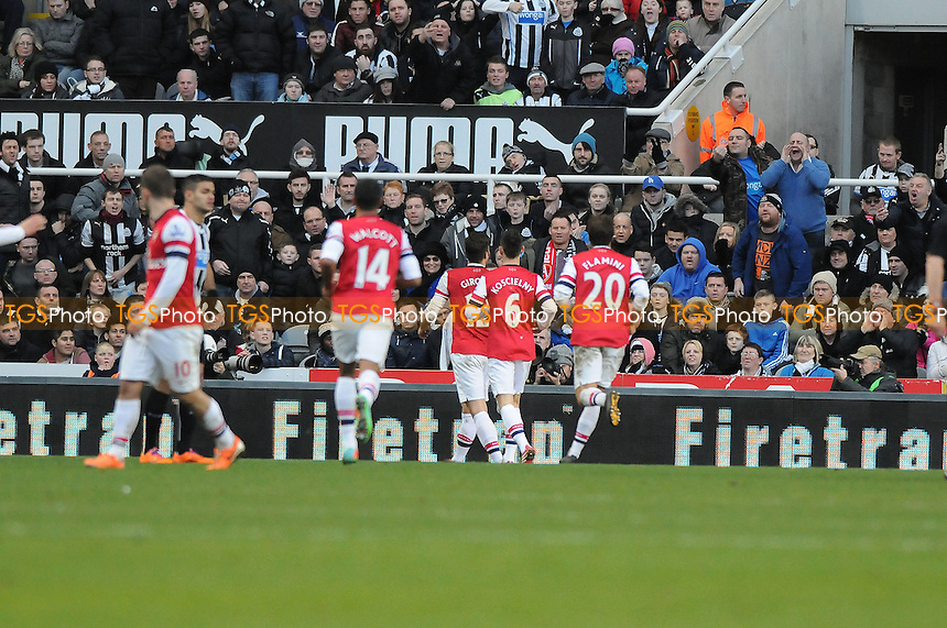 Olivier Giroud of Arsenal celebrates scoring the opening goal of the game - Newcastle United vs Arsenal - Barclays Premier League Football at St James Park, Newcastle upon Tyne - 29/12/13 - MANDATORY CREDIT: Steven White/TGSPHOTO - Self billing applies where appropriate - 0845 094 6026 - contact@tgsphoto.co.uk - NO UNPAID USE