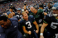Oct 23, 2005; Seattle, Wash, USA;  Seattle Seahawks kicker #3 Josh Brown is mobbed by his teammates after kicking a game winning field goal with 5 seconds remaining in the game against the Dallas Cowboys at Qwest Field. Mandatory Credit: Photo By Mark J. Rebilas