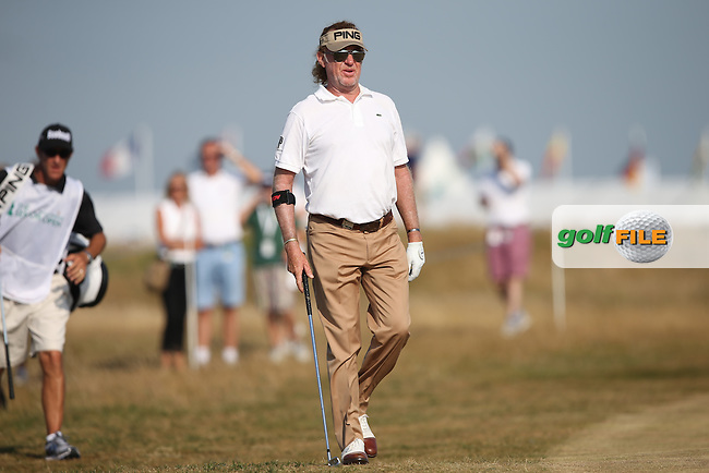 Miguel Angel Jimenez (ESP) out of sorts during Round One of the 2014 Senior Open Championship presented by Rolex from Royal Porthcawl Golf Club, Porthcawl, Wales. Picture:  David Lloyd / www.golffile.ie