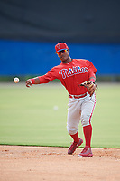 Philadelphia Phillies second baseman Brayan Gonzalez (38) throws to first base during an Instructional League game against the Toronto Blue Jays on October 7, 2017 at the Englebert Complex in Dunedin, Florida.  (Mike Janes/Four Seam Images)