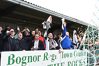 Grimsby Town fans prior to the FA Trophy Semi Final first leg match between Bognor Regis and Grimsby Town at Nyewood Lane, Bognor Regis, England on 12 March 2016. Photo by Paul Paxford/PRiME Media Images.
