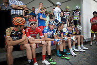 riders waiting to be introduced to the crowd<br /> <br /> Post-Tour Criterium Mechelen 2015