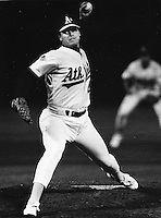 A's pitcher Rick Honeycutt.(1988 photo by Ron Riesterer)