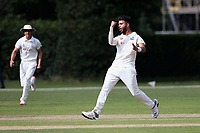 Eshun Kalley of Wanstead celebrates taking the wicket of Joe Buttleman during Brentwood CC vs Wanstead and Snaresbrook CC, Essex Cricket League Cricket at The Old County Ground on 12th September 2020