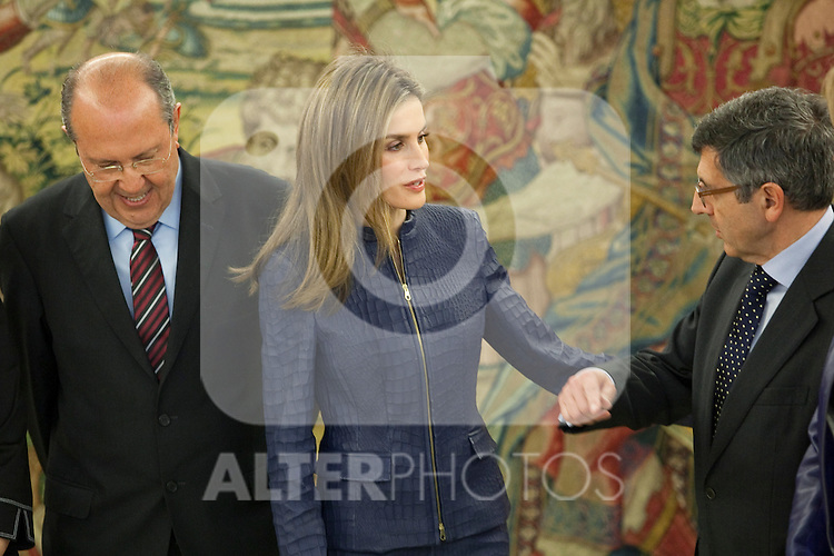 Princess Letizia of Spain attends an official audience with Vodafone´s Connected Women congress representatives at Zarzuela Palace in Madrid, Spain. March 14, 2014. (ALTERPHOTOS/Victor Blanco)