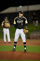 UCF Knights pitcher David Litchfield (1) during a game against the Siena Saints on February 14, 2020 at John Euliano Park in Orlando, Florida.  UCF defeated Siena 2-1.  (Mike Janes/Four Seam Images)