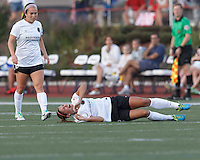 Portland Thorns FC forward Alex Morgan (13) reacts to an injury. In a National Women's Soccer League (NWSL) match, Boston Breakers (blue) defeated Portland Thorns FC (white/black), 2-1, at Dilboy Stadium on August 7, 2013.