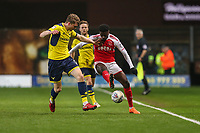 Jordy Hiwula of Fleetwood Town (right) during the Sky Bet League 1 match between Oxford United and Fleetwood Town at the Kassam Stadium, Oxford, England on 10 April 2018. Photo by David Horn.