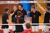 STANFORD, CA - January 2, 2018: Eli Wopat, Eric Beatty, Russell Dervay, Kevin Rakestraw, Stephen Moye, Leo Henken at Burnham Pavilion. The Stanford Cardinal defeated the Calgary Dinos 3-1.