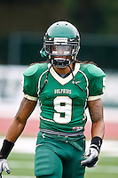 October 2, 2010:   Jacksonville Dolphins wide receiver Rodney Sumter (9) during Pioneer Football League action between the San Diego Toreros and Jacksonville University Dolphins at D. B. Milne Field in Jacksonville, Florida.  Jacksonville defeated San Diego 35-28.
