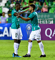 PALMIRA-COLOMBIA, 11-02-2020: Jugadores de Deportivo Cali, celebran el gol anotado a River Plate, durante partido de ida entre Deportivo Cali de Colombia y River Plate of Paraguay, por la Copa Conmebol Sudamericana 2020 en el estadio Deportivo Cali de la ciudad de Palmira (Palmaseca). / Players of Deportivo Cali celebrate the goal scored to River Plate, during a match between Deportivo Cali of Colombia and River Plate of Paraguay, for the Conmebol Sudamericana Cup 2020 at the Deportivo Cali Stadium in Palmira (Palmaseca) city. / Photo: VizzorImage / Nelson Ríos / Cont.