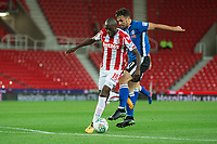 Bruno Martins Indi of Stoke City goes past Jordan Williams of Rochdale during the Carabao Cup match between Stoke City and Rochdale at the Bet365 Stadium, Stoke-on-Trent, England on 23 August 2017. Photo by James Williamson / PRiME Media Images.
