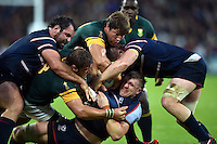 Louis Stanfill of the USA is tackled to ground. Rugby World Cup Pool B match between South Africa and the USA on October 7, 2015 at The Stadium, Queen Elizabeth Olympic Park in London, England. Photo by: Patrick Khachfe / Onside Images