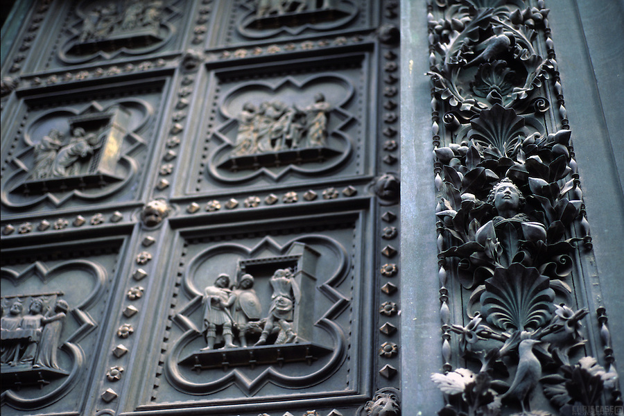The metal work on the doors of the Florence Baptistery are world renowned. Also known as the Battistero di San Giovanni (Baptistery  of St. John) this religious building in Florence  (Tuscany), Italy, has the status of a minor basilica.