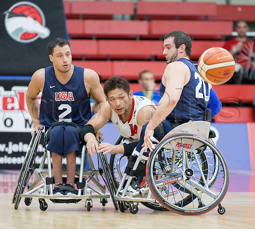 03.07.2016. Leicester Sports Arena, Leicester, England. Continental Clash Wheelchair Basketball, USA versus Japan.  Takenori Ishikawa (JPN) throws the ball across the court in between Jake Williams (USA) and Jared Arambula (USA)