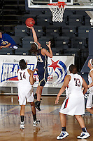 SAN ANTONIO, TX - MARCH 4, 2011: The 2011 Heartland Conference Basketball Tournament Women's Semi-Final #1 featuring the #1 seed Newman University Jets vs. the #4 seed St. Edward's University Hilltoppers at the Bill Greehey Arena on the campus of St. Mary's University. (Photo by Jeff Huehn)