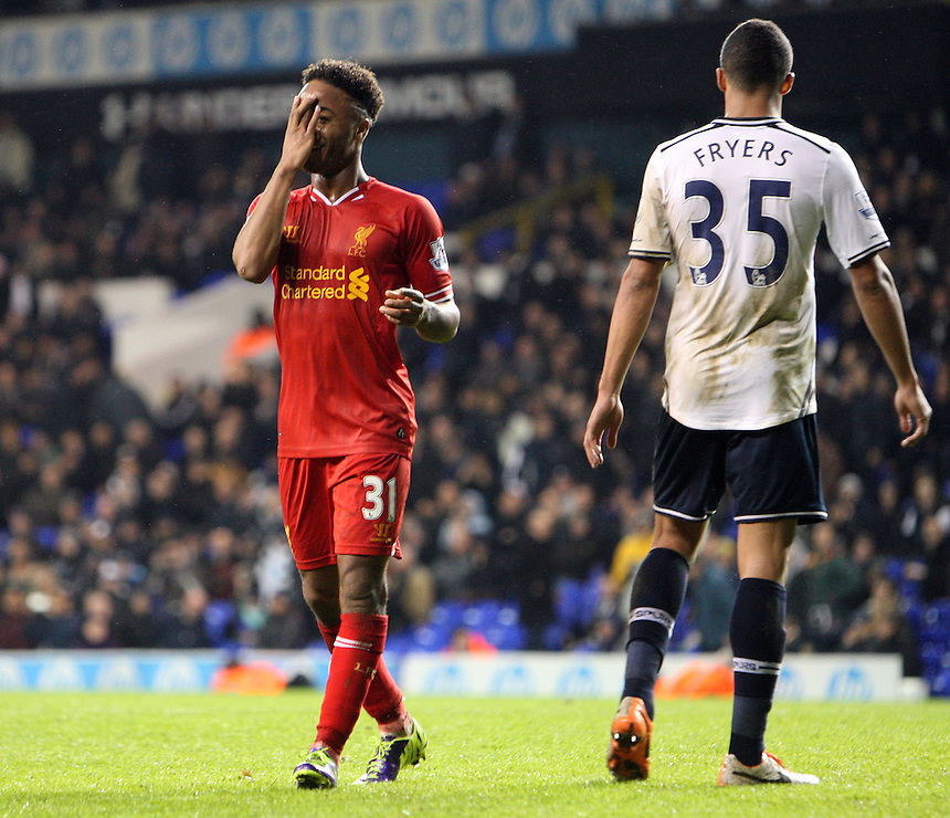 Liverpool's Raheem Sterling celebrates scoring his sides fifth goal <br /> Photo by Kieran Galvin/CameraSport<br /> <br /> Football - Barclays Premiership - Tottenham Hotspur v Liverpool - Sunday 15th December 2013 - White Hart Lane - London<br /> <br /> &copy; CameraSport - 43 Linden Ave. Countesthorpe. Leicester. England. LE8 5PG - Tel: +44 (0) 116 277 4147 - admin@camerasport.com - www.camerasport.com