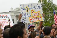 October 19, 2011  (Washington, DC)  Egyptian Coptic Christians rally in front of the White House to protest recent clashes between the Egyptian Military and Coptic Christians in Egypt.  (Photo by Don Baxter/Media Images International)