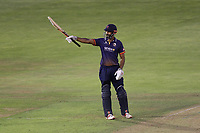 Varun Chopra of Essex raises his bat to celebrate reaching his fifty during Glamorgan vs Essex Eagles, Vitality Blast T20 Cricket at the Sophia Gardens Cardiff on 7th August 2018