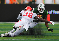 NWA Democrat-Gazette/CHARLIE KAIJO Arkansas Razorbacks linebacker D'Vone McClure (36) blocks Colorado State Rams running back Marvin Kinsey Jr. (5) during the first quarter of a football game, Saturday, September 8, 2018 at Colorado State University in Fort Collins, Colo.