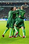 11.02.2018, Weserstadion, Bremen, GER, 1.FBL, SV Werder Bremen vs Vfl Wolfsburg<br /> <br /> im Bild<br /> Ludwig Augustinsson (Werder Bremen #5) bejubelt seinen Treffer zum 1:0, mit Teamkollegen, Theodor Gebre Selassie (Werder Bremen #23), Aron J&oacute;hannsson / Johannsson (Werder Bremen #9), Zlatko Junuzovic (Werder Bremen #16), Max Kruse (Werder Bremen #10), <br /> <br /> Foto &copy; nordphoto / Ewert