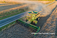 63801-13306 Harvesting soybeans at sunset in fall-aerial  Marion Co. IL