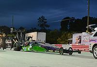 Jan. 17, 2013; Jupiter, FL, USA: The car of NHRA top fuel dragster driver Leah Pruett during testing at the PRO Winter Warmup at Palm Beach International Raceway.  Mandatory Credit: Mark J. Rebilas-