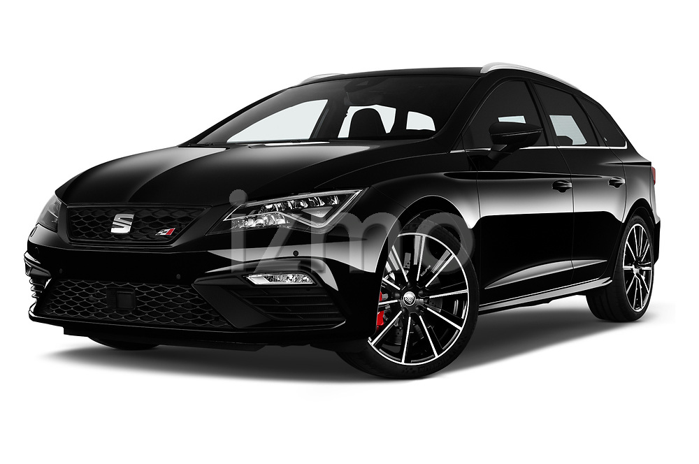 Stock pictures of low aggressive front three quarter view of 2017 Seat Leon-ST-Cupra - 5 Door Wagon Low Aggressive