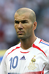 09 July 2006: Zinedine Zidane (FRA), team captain.  Italy defeated France in a penalty kick shoot-out at the Olympiastadion in Berlin, Germany in match 64, the championship game, of the 2006 FIFA World Cup Finals.