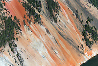 The colorful walls of the Grand Canyon of the Yellowstone, as photographed during an aerial shoot of the park.
