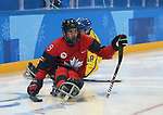 Pyeongchang, Korea, 10/3/2018-Dom Cozzolino of Canada plays Sweden in hockey during the 2018 Paralympic Games in PyeongChang. Photo Scott Grant/Canadian Paralympic Committee.