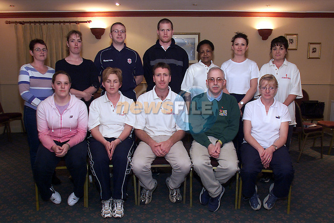 School of massage therapy heart foundation class, BR l to r Fidelma McCarville, Ann Brennan, Tom Byrne, Jeff Finnegan, Theresia Laclislaus, Debbie Carton and Martina Healy..Fr l to r Donna Kenwright, Joyce Kelly, Eddie Melia, instructor, Martin O'Connor, Irish Heart Foundation and Theresa Kenwright..Picture: Arthur Carron/Newsfile