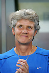 15 August 2008: United States head coach Pia Sundhage (SWE).  The women's Olympic team of the United States defeated the women's Olympic soccer team of Canada 2-1 after extra time at Shanghai Stadium in Shanghai, China in a Quarterfinal match in the Women's Olympic Football competition.