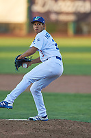 Richardo Hernandez (27) of the Ogden Raptors delivers a pitch to the plate against the Helena Brewers at Lindquist Field on July 14, 2018 in Ogden, Utah. Ogden defeated Helena 8-6. (Stephen Smith/Four Seam Images)