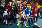 20.02.2020 Rangers v SC Braga: James Tavernier leads out the Rangers team