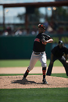 San Jose Giants relief pitcher Israel Cruz (29) during a California League game against the Stockton Ports on April 9, 2019 in Stockton, California. San Jose defeated Stockton 4-3. (Zachary Lucy/Four Seam Images)