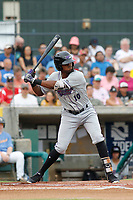 Winston-Salem Dash infielder Ti'Quan Forbes (10) at bat during a game against the Myrtle Beach Pelicans at Ticketreturn.com Field at Pelicans Ballpark on July 22, 2018 in Myrtle Beach, South Carolina. Winston-Salem defeated Myrtle Beach 7-2. (Robert Gurganus/Four Seam Images)