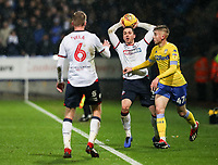 Bolton Wanderers' Andrew Taylor tries to tqke a quick throw-in<br /> <br /> Photographer Andrew Kearns/CameraSport<br /> <br /> The EFL Sky Bet Championship - Bolton Wanderers v Leeds United - Saturday 15th December 2018 - University of Bolton Stadium - Bolton<br /> <br /> World Copyright &copy; 2018 CameraSport. All rights reserved. 43 Linden Ave. Countesthorpe. Leicester. England. LE8 5PG - Tel: +44 (0) 116 277 4147 - admin@camerasport.com - www.camerasport.com