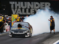 Jun 19, 2015; Bristol, TN, USA; NHRA pro stock driver Larry Morgan during qualifying for the Thunder Valley Nationals at Bristol Dragway. Mandatory Credit: Mark J. Rebilas-