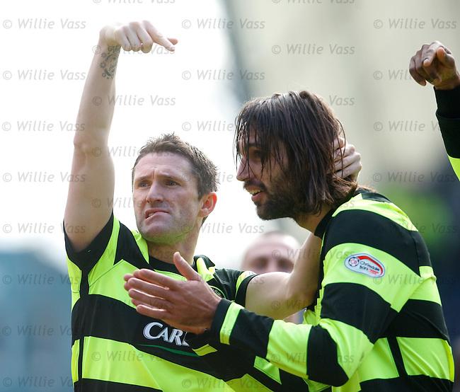 Robbie Keane celebrates with goal provider Georgios Samaras