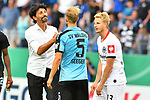 11.08.2019, Carl-Benz-Stadion, Mannheim, GER, DFB Pokal, 1. Runde, SV Waldhof Mannheim vs. Eintracht Frankfurt, <br /> <br /> DFL REGULATIONS PROHIBIT ANY USE OF PHOTOGRAPHS AS IMAGE SEQUENCES AND/OR QUASI-VIDEO.<br /> <br /> im Bild: Bruno Hübner / Huebner / Hubner (Sportdirektor Eintracht Frankfurt) mit Marcel Seegert (SV Waldhof Mannheim #5) und Martin Hinteregger (Eintracht Frankfurt #13)<br /> <br /> Foto © nordphoto / Fabisch